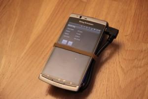 Xperia Arc med RAAM-applikasjonen i gang